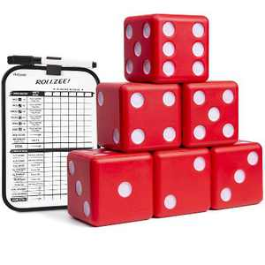 GoSports Giant 3.50 Inch Foam Yard Dice Set Family Outdoor Backyard Lawn Game with Bonus Scoreboard and Carrying Case