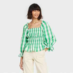 Women's Puff 3/4 Sleeve Smocked Peplum Top - Who What Wear