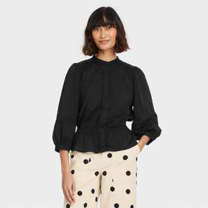 Women's Puff 3/4 Sleeve Smocked Peplum Top  - Who What Wear