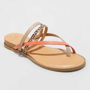 Women's Jasmine Strappy Sliver Wedge Sandals - A New Day