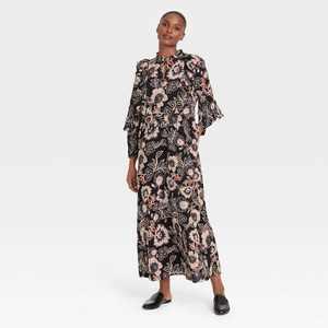 Women's Balloon Long Sleeve Soft Ruffle Dress - Who What Wear