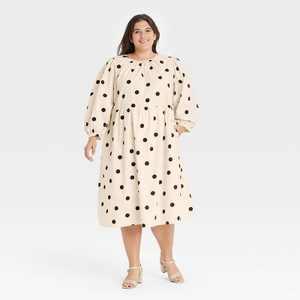 Women's Polka Dot Balloon Long Sleeve Tie-Back Dress - Who What Wear