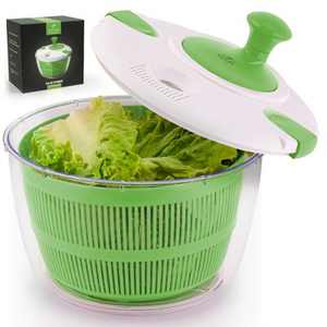 Zulay Kitchen Salad Spinner Large 5L Capacity - Manual Lettuce Spinner With Secure Lid Lock & Rotary Handle