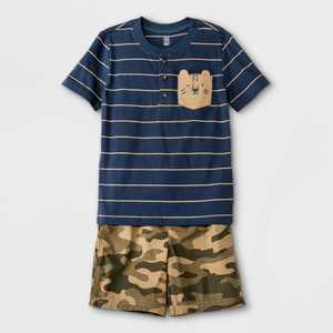 Toddler Boys' 2pc Tiger Henley Short Sleeve Top and Camo Pull-On Shorts Set - Just One You made by carter's Navy
