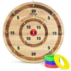 GoSports Ringer Darts Indoor Outdoor Hook Ring Toss Game Set for Kids and Adults with 16 Rings, Natural Wood Finish
