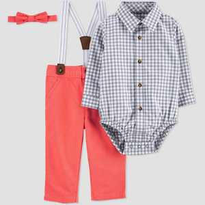 Baby Boys' Easter Dressy Top & Bottom Set - Just One You made by carter's Gray/Poppy Red