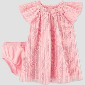 Baby Girls' Easter Dressy Pleated Lace Dress - Just One You made by carter's Pink