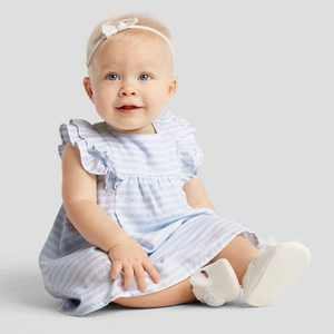 Baby Girls' Easter Dressy Striped Dot Lace Dress - Just One You made by carter's Blue