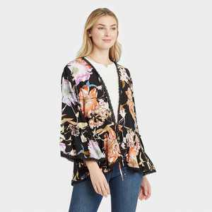 Women's Floral Print Tie-Front Jacket - Knox Rose