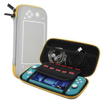Insten For Nintendo Switch Lite Carry Case - Protective Hard Shell, Portable Travel Zipper Pouch - Gray/Yellow