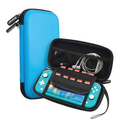 Insten Carry Case for Nintendo Switch Lite - Portable Hard Shell Travel Pouch for Console & Accessories, Blue