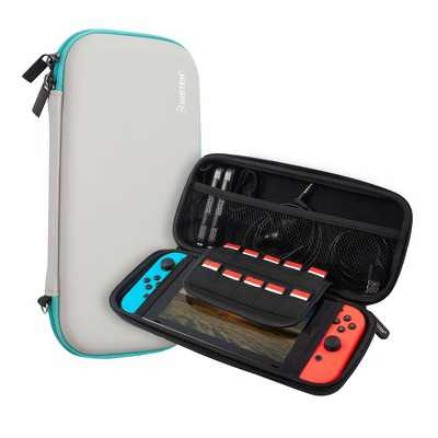 Insten For Nintendo Switch Carry Case - Protective Hard Shell, Portable Travel Zipper Pouch - Gray/Green