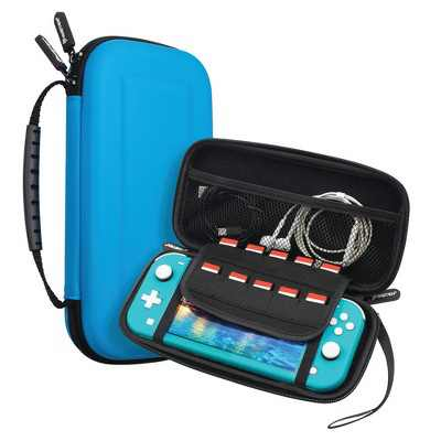 Insten For Nintendo Switch Lite Carrying Case - Portable Hard Shell Travel Pouch with Hand Strap, Blue