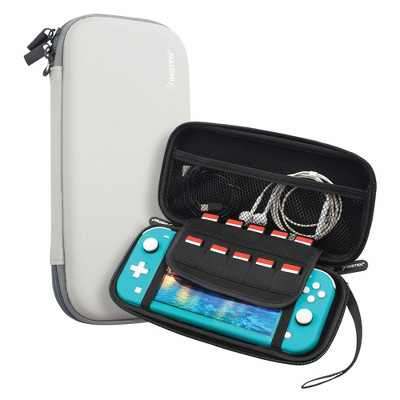 Insten Carrying Case for Nintendo Switch Lite - Portable Travel Case, Hard Shell Pouch with 10 Game Card Slots, Black