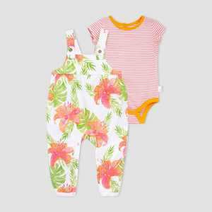 Burt's Bees Baby® Baby Girls' Lily Jumpsuit and Bodysuit Set - Coral/Green 3M