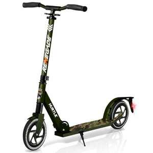 Hurtle Renegade Lightweight Foldable Teen and Adult Adjustable Ride On 2 Wheel Transportation Commuter Kick Scooter, Camouflage
