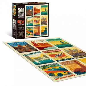 """Americanflat 500 Piece Jigsaw Puzzle, 18x24 Inches, """"American Travel Midwest"""" Art by Anderson Design Group"""