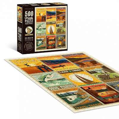 "Americanflat 500 Piece Jigsaw Puzzle, 18x24 Inches, ""Lake and Lodge"" Art by Anderson Design Group"