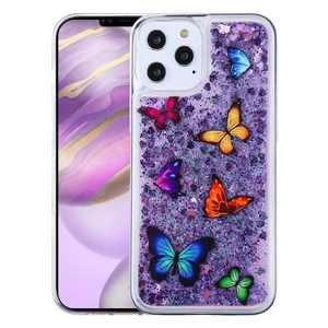 Airium Quicksand Glitter Butterfly Dancing Dual Layer Hybrid PC/TPU Rubber Case Cover Compatible With Apple iPhone 12 Series