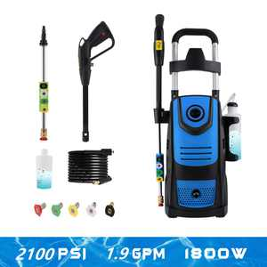 Professional 1800W 2100PSI Max 1.9GPM High Power Washer Machine Electric Pressure Washer with Nozzles,Spray Gun,Detergent Tank for Cleaning Homes,Cars,Driveways,Patios (Blue)