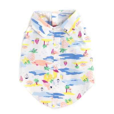 The Worthy Dog Scenic Hawaiian Print Button Up Look Pet Shirt