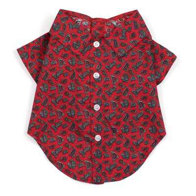 The Worthy Dog Paisley Print Button Up Look Pet Shirt