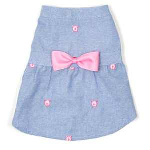 The Worthy Dog Embroidered Wilbur Pig Chambray Adjustable Pet Dress