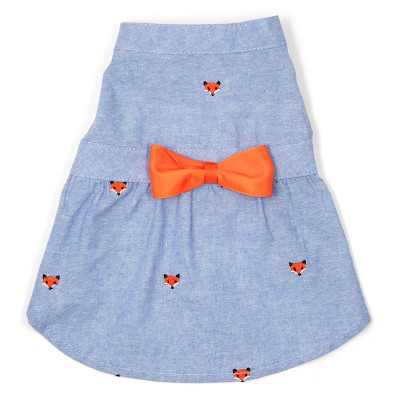The Worthy Dog Embroidered Foxy Chambray Adjustable Pet Dress