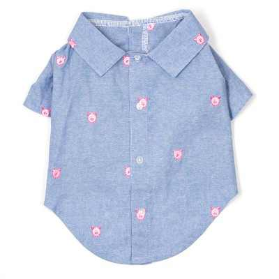 The Worthy Dog Embroidered Wilbur Pig Chambray Button Up Look Pet Shirt