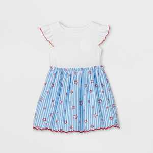 Toddler Girls' Striped with Stars Knit Woven Dress - Cat & Jack White