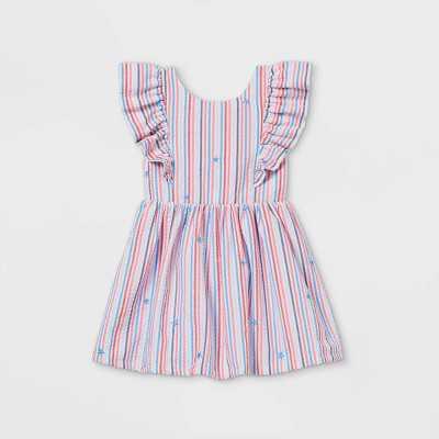 Toddler Girls' Seersucker with Stars Ruffle Sleeve Dress - Cat & Jack Red/White/Blue