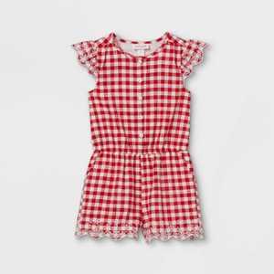 Toddler Girls' Gingham Romper - Cat & Jack Red/White