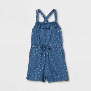 Toddler Girls' Star Romper - Cat & Jack Chambray Blue
