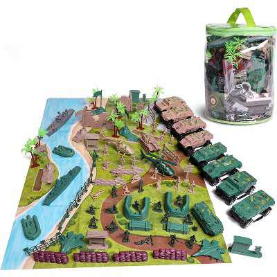 120-Piece Military Toy Soldiers Playset, Green Army Men Toys, Mini Plastic Action Figures with Vehicles Accessories and Play Map