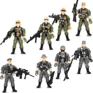"8-Pack Military SWAT Soldiers Action Figures, Special Force Army Men Toy Soldier Set with Accessories, 4.5"" Tall"