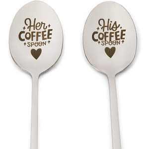 Engraved Spoon Gift Set, His Coffee Spoon, Her Coffee Spoon (7.8 In, 2 Pack)