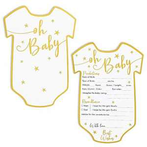 Set of 50 Baby Predictions and Advice Cards for Shower Game Activity & Gender Reveal Party, Oh Baby Gold Stars Design