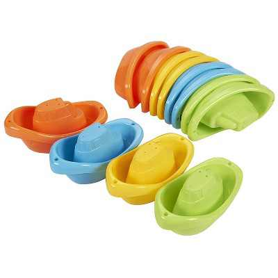 Bath Toy Boats - 12 Pack of Stackable Plastic Kids Tugboats for Bathtub in Orange, Green, Yellow, Blue, Ages 3 and Up