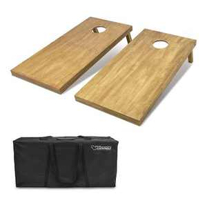 GoSports Regulation Size Wooden  Outdoor Lawn Game Wood Cornhole Set with 2 4 Foot x 2 Foot Boards and Carrying Case