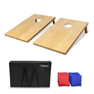 GoSports Regulation Size 3' x 2' Solid Wood Cornhole Set with 2 4 Foot x 2 Foot Boards, 8 Bean Bags, Carrying Case, and Game Rules, Bamboo