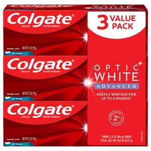 Colgate Optic White Advanced Teeth Whitening Toothpaste, Icy Fresh, 3.2 Oz, 3 Ct