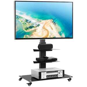 Modern Rolling Tall TV Stand with Wheels for 40 to 70 inch TVs, Black Finish