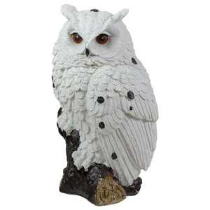 "Northlight 6"" White Owl Perched on a Branch Outdoor Garden Statue"