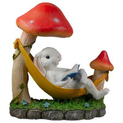 "Northlight 11.5"" Mushrooms and Rabbit in Hammock Outside Garden Statue"