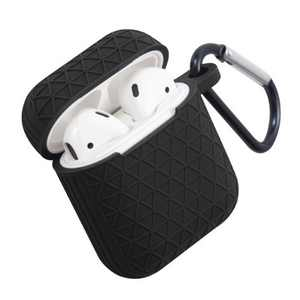 Insten Honeycomb Textured Pattern Case For AirPods 1 & 2, Soft Silicone Skin Cover with Keychain, Black