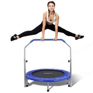 SereneLife 40 Inch Portable Highly Elastic Fitness Jumping Sports Mini Trampoline with Adjustable Handrail, Padded Cushion, and Travel Bag, Adult Size
