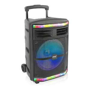 Pyle PPHP1044B 600 Watts Portable Indoor Outdoor Bluetooth Speaker System with Rechargeable Battery and Flashing Party Lights