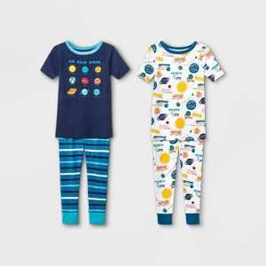 Toddler Boys' 4pc 100% Cotton Space Snug Fit Pajama Set - Cat & Jack Blue
