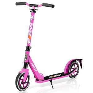 Hurtle Renegade HURTSPK.5 Lightweight Foldable Teen and Adult Adjustable Ride On 2 Wheel Transportation Commuter Kick Scooter, Pink