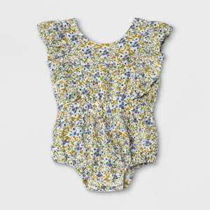 Baby Girls' Floral Woven Cinched Waist Romper - Cat & Jack Blue/White